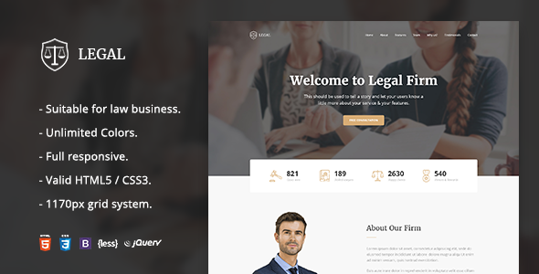 Legal — Law Firm OnePage HTML Template