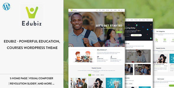 Edubiz v1.2 — Powerful Education, Courses WordPress Theme