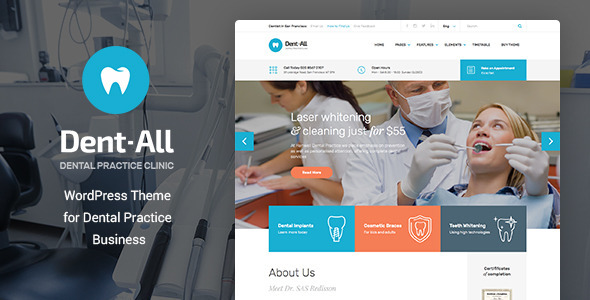 Dent-All v1.9 — Dental Practice WordPress Theme