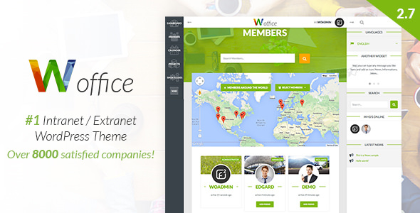 Woffice v2.7.3 — Intranet/Extranet WordPress Theme