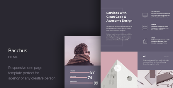 Bacchus v1.3 — One Page HTML Template