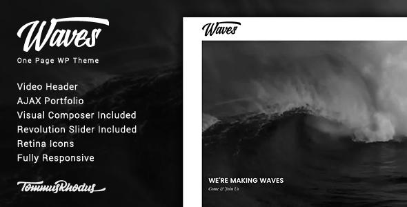 Waves v1.0.1 — Fullscreen Video One-Page WordPress Theme