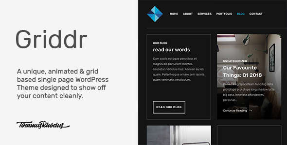 Griddr v1.0.2 — Animated Grid Creative WordPress Theme