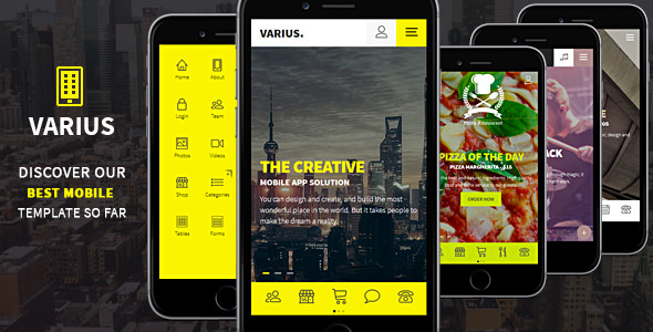 Varius — Mobile and Tablet Creative Template