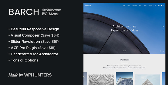 Barch v1.2 — Architecture Portfolio WordPress Theme