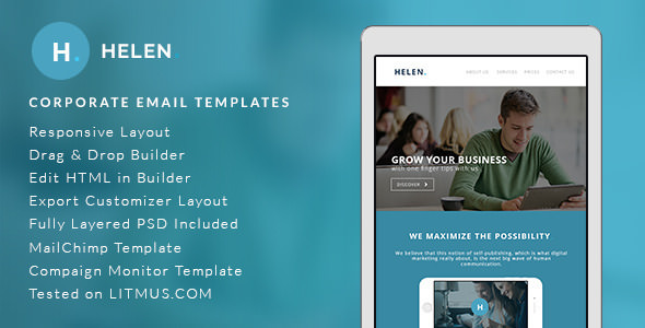 Helen — Corporate Email Templates + Builder Access