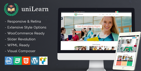UniLearn v1.2.1 — Education and Courses WordPress Theme