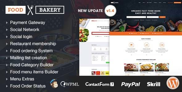FoodBakery v1.3 — Food Delivery Restaurant Directory Theme