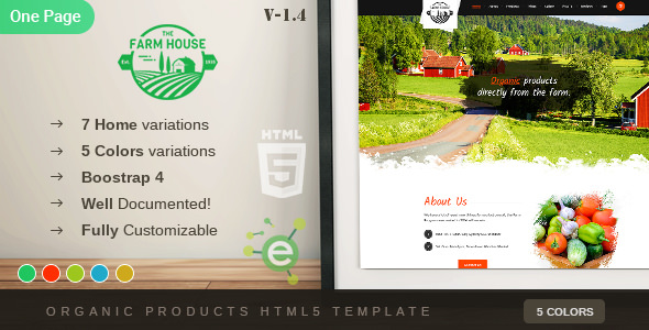 The Farm House — One Page Organic Food, Fruit and Vegetables Products HTML5 Template