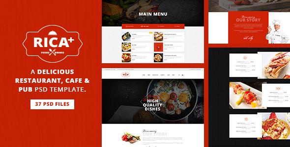 Rica Plus — A Delicious Restaurant, Cafe & Pub PSD Template