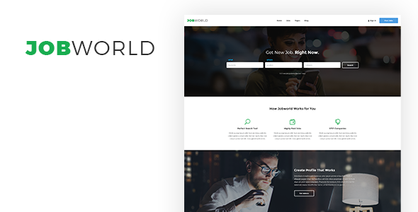 Job World — Job Portal PSD Template