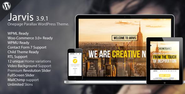 Jarvis v3.9.1 — Onepage Parallax WordPress Theme