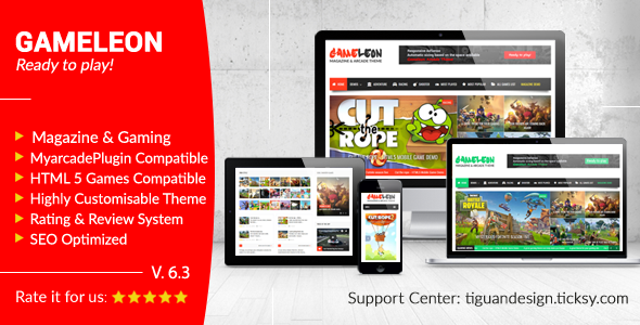 Gameleon v6.3 — WordPress Magazine & Arcade Theme