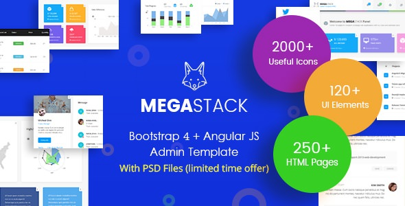 MegaStack — Bootstrap 4 & Angular JS Admin Panel
