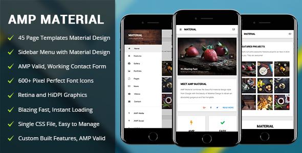 AMP Material — Mobile Google AMP Template