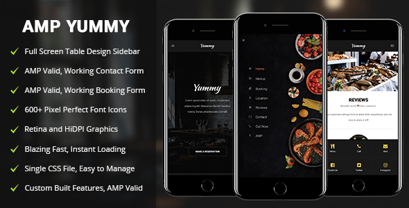 AMP Yummy — Mobile Google AMP Template