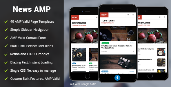 AMP News Mobile — Mobile Google AMP Template