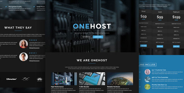 Onehost v1.3.9 — One Page WordPress Hosting Theme + WHMCS