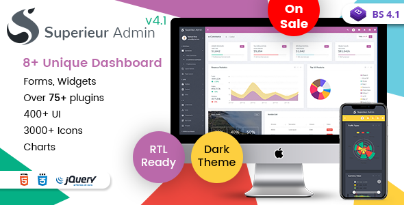 Superieur Admin v4.1 — Responsive Bootstrap 4 Admin Template Dashboard Web App