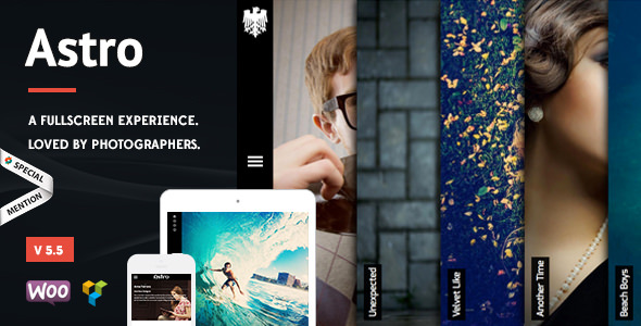 Astro v5.5 — Showcase/Photography WordPress Theme