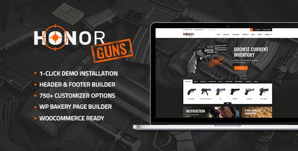 Honor v1.0 — Shooting Club & Weapon Store WordPress Theme