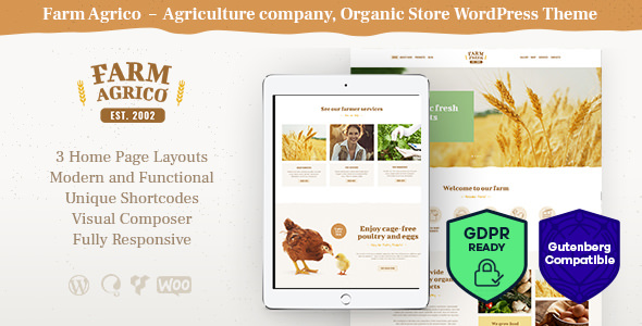 Farm Agric v1.1 — Agricultural Business WordPress Theme