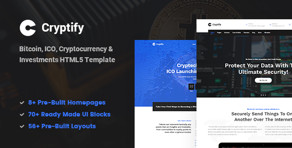 Cryptify — Responsive Bitcoin, Cryptocurrency and Investments HTML Template