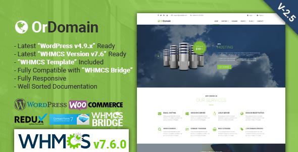 OrDomain v2.5 — Responsive WHMCS Hosting WordPress Theme