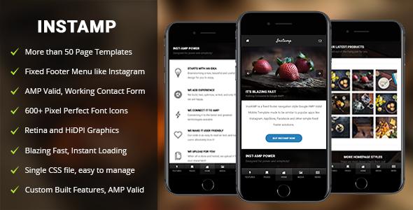 AMP Insta Mobile — Mobile Google AMP Template