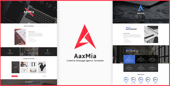 AaxMia — One page Creative Agency and Portfolio Template