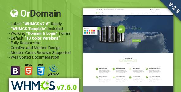OrDomain v2.9 — Responsive HTML5 WHMCS Hosting Template