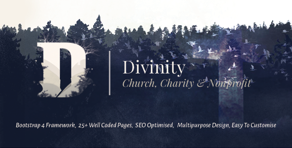 Divinity — Church, Non Profit and Charity Events Bootstrap 4 HTML Template