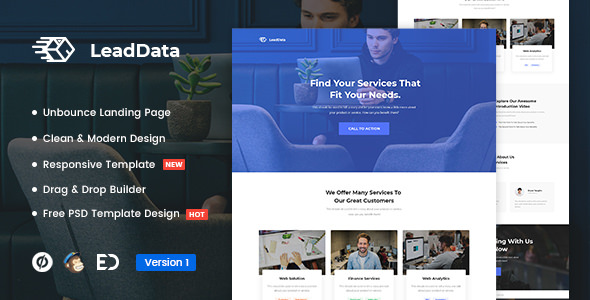 LeadData — Lead Generation Unbounce Landing Page Template