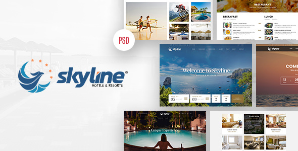 SkyLine — Hotel Booking PSD & Sketch Template