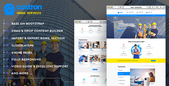 Castron — Home Maintenance, Repair and Improvement Services Drupal 8.6 Theme