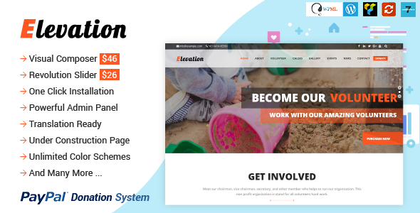 ELEVATION v2.2.5 — Charity/Nonprofit/Fundraising WP Theme