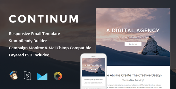 Continum — Responsive Email + StampReady Builder