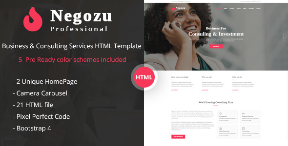 Negozu — Business and Consulting Services HTML Template