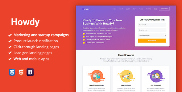 Howdy — Multipurpose High-Converting Landing Page Template