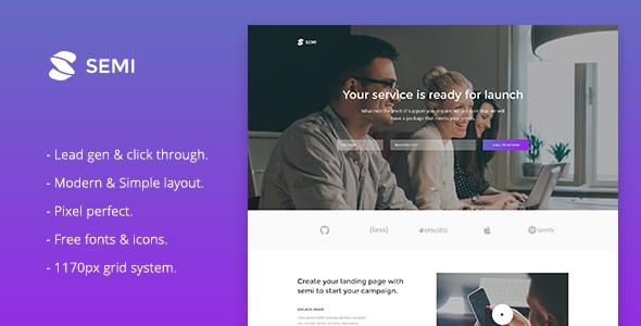 Semi v1.0 — Service Landing Page HTML Template