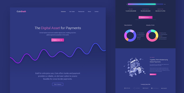 Coindash — Cryptocurrency Saas Landing Page Template