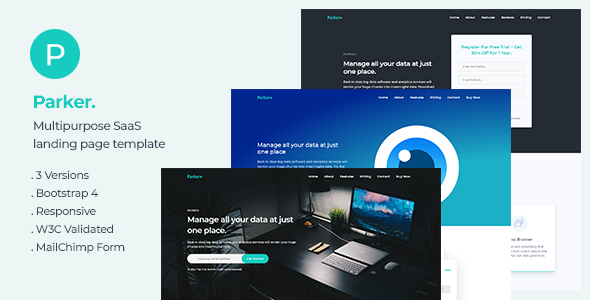 Parker — Software and Startup Landing Page Template