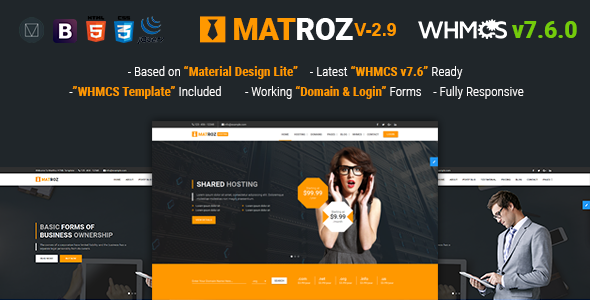 MatRoz v2.9 — Web Hosting with WHMCS & Material Design Technology Business Template