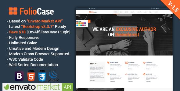 FolioCase v1.5 — Multipurpose Business with Envato Portfolio & Affiliate Template
