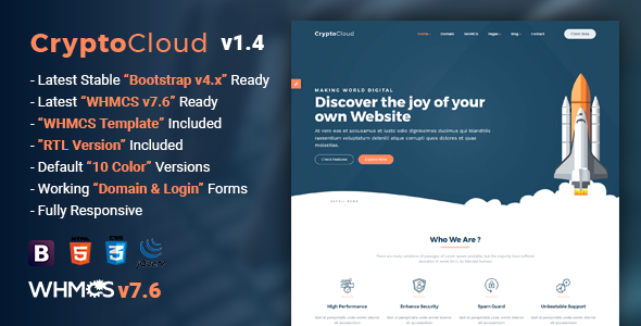 CryptoCloud v1.4 — Multipurpose Hosting and WHMCS Template
