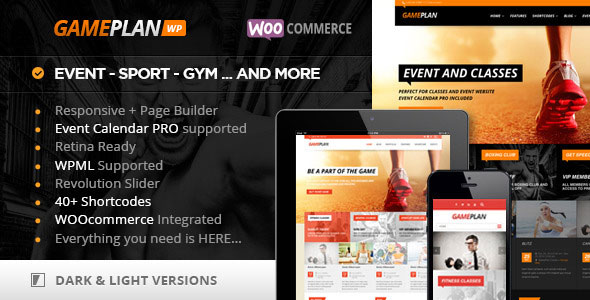 Gameplan v1.5.19 — Event and Gym Fitness Theme