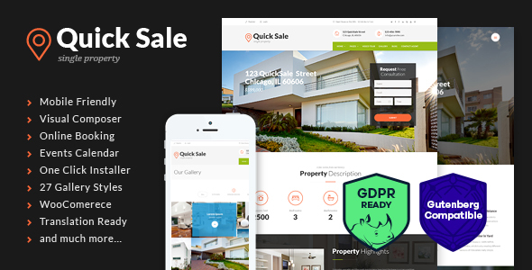 Quick Sale v3.0.1 — Single Property Real Estate WordPress Theme