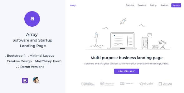 Array v1.0 — Minimal Landing Page Template