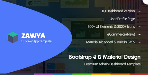 Zawya — Bootstrap 4 & Material Design Premium Admin Dashboard Template