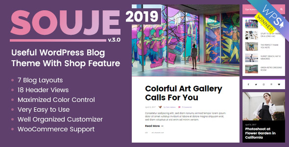 Souje v3.0 — Personal WordPress Blog Theme